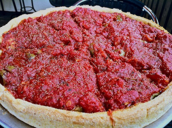 Pi's vegan deep dish satisfies. - BRYAN PETERS
