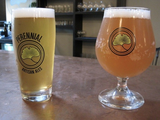 Glasses of Perennial's Southside Blonde (left) and Hommel beers - SARAH BARABA