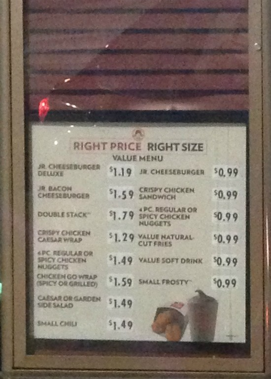 """""""Right Price, Right Size"""" menu at the Wendy's on Hampton Avenue."""