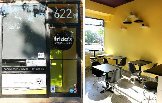 The friendly exterior of Frida's Deli and the restaurant's sunny, charming interior. - LIZ MILLER