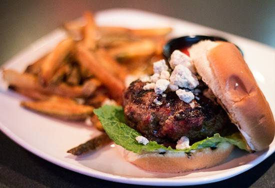 """Odessa Blue Cheese Burger"" with bacon and mushroom mixed into the ground beef."