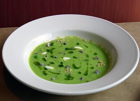 Niche's English pea soup with lavender brioche soil. - KATIE MOULTON
