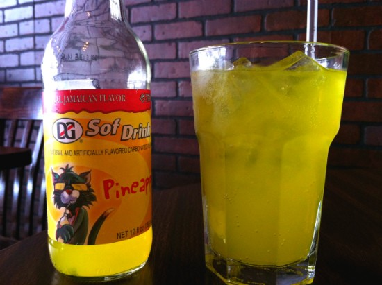 Pineapple-flavored Jamaican soda at De Palm Tree. - LIZ MILLER