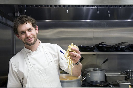 Sous chef Casey Kohler with some of the fresh house made pasta for the Stracci with Butternut Squash. Kohler was a sous chef at Wildflower for about two-and-a-half years before joining the kitchen of Terrace View. View a Terrace View slideshow. - PHOTO: JENNIFER SILVERBERG