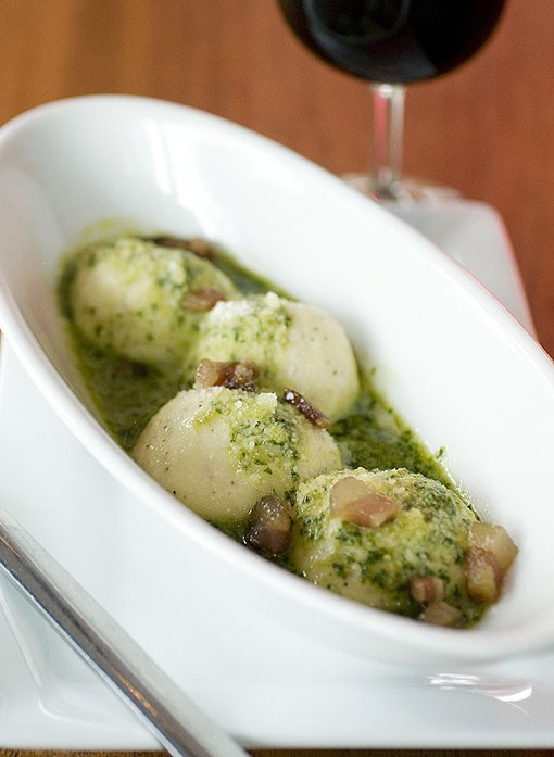 Acero's Gnudi with basil pesto and guanciale. Guanciale, a central Italian delicacy, is unsmoked bacon with a stronger flavor, yet more delicate texture, than pancetta. View a Terrace View slideshow. - PHOTO: JENNIFER SILVERBERG