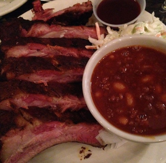 Ribs with baked beans and cole slaw. | Nancy Stiles