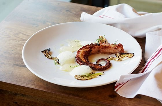 Spanish octopus with arugula, pickled onions and harissa. | Courtesy Central Table