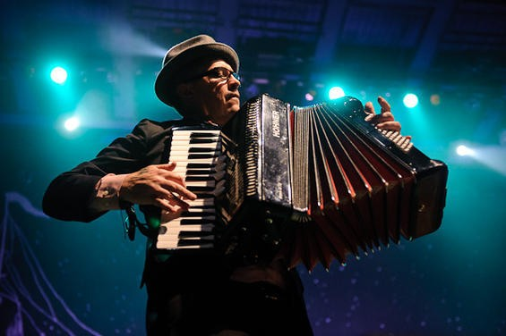 Accordionist Matt Hensley, at 2010 at the Pageant - TODD OWYOUNG