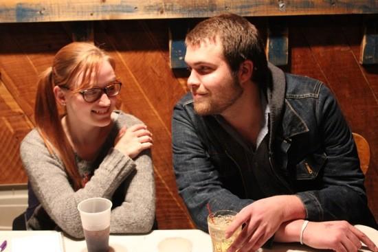 The Skekses (Ellen Herget and Evan O'Neal) man the merch table. - KIERNAN MALETSKY