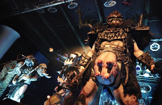 Members of GWAR prepare to squirt blood during a show at Pop's. See more photos here. - STEVE TRUESDELL