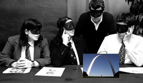 (Artist rendition of the band planning its secret trip to St. Louis.)