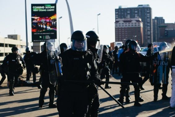 Police in St. Louis on November 25, the day after the grand jury delivered no indictment. See more photos here. - BRYAN SUTTER