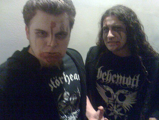 Metal fans Andrew Shafer (left) and Max Barnett (right) at Until the Light Takes Us on Sunday night.