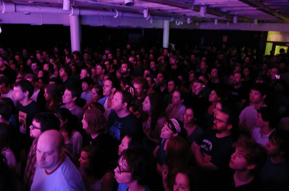 Does this look like a tame audience to you? See more photos from last night's Yeasayer show at the Gargoyle. - PHOTO: JASON STOFF