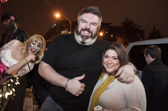 Kristian Nairn with an adoring fan -- and a costumed photo-bomber. - MICAH USHER