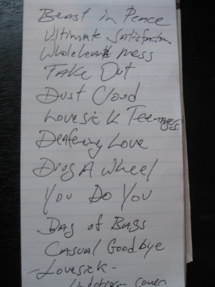 Setlist penned by Philpot himself.