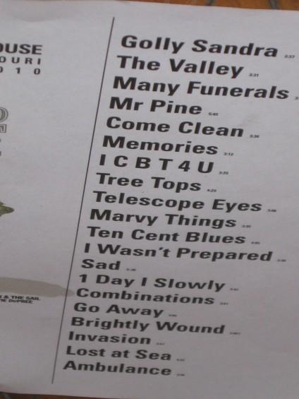 Eisley's setlist last night - DIANA BENANTI