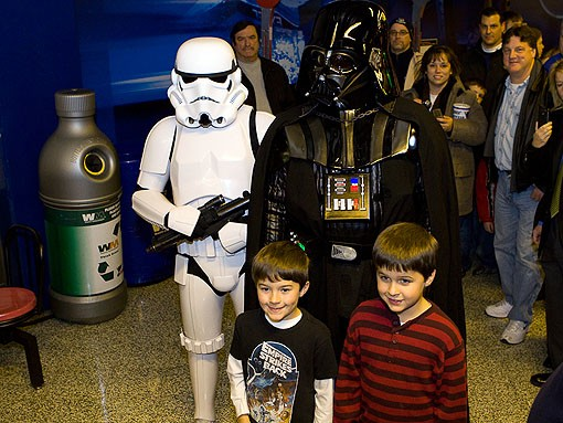 A Stormtrooper from the 501st and Darth Vader himself were making there way through the crowd and posing for pictures with young fans. See more photos from last night. - PHOTO: STEW SMITH