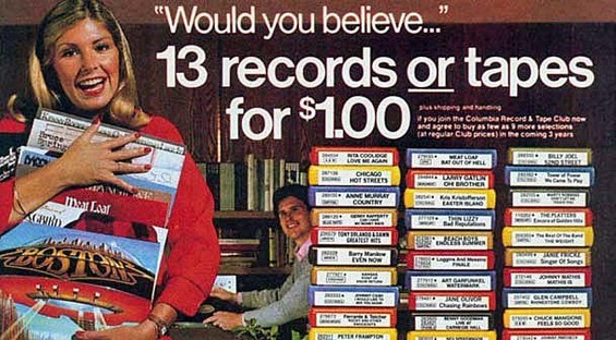A vintage Columbia House ad from some hellish year in the past.
