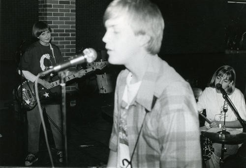 The 1993 Bunnygrunt lineup -- Renee Dullum, Matt Harnish and Karen Ried -- play Columbia's Rock Bridge High School. - COURTESY OF MATT HARNISH