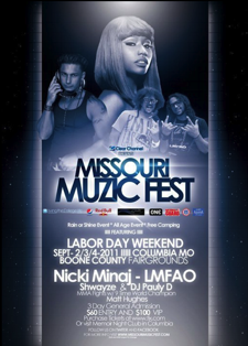 AN EARLY POSTER FOR THE MISSOURI MUZIC FESTIVAL. NICKI MINAJ WAS REMOVED FROM THE LINEUP MONTHS AGO.