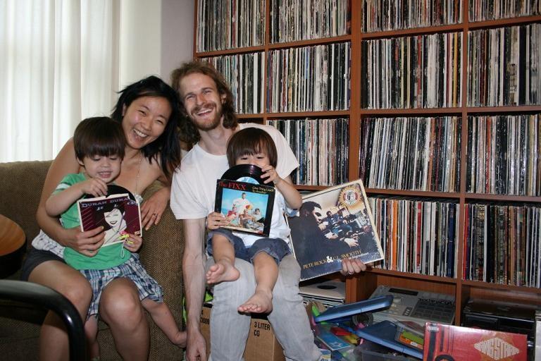 DJs Agile 1 and Crucial with their twin boys - JON SCORFINA