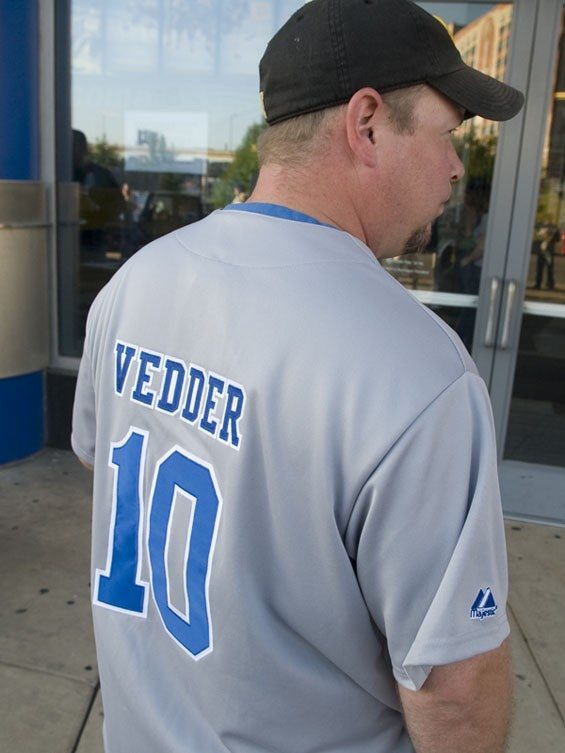 An Eddie Vedder Cubs jersey spotted outside the Scottrade Center. See a full slideshow from Pearl Jam's Scottrade Center show here. - PHOTO: JON GITCHOFF