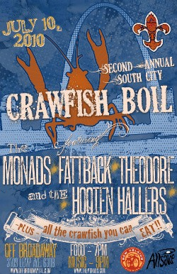 this year's Crawfish Boil flyer, complete with crawfish fleur-de-lis