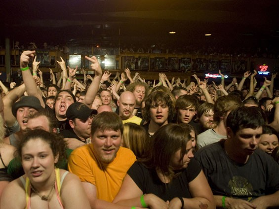 The view from the front of the stage on Saturday night, just before NOFX started its set. See a full slideshow of NOFX at Pop's. - PHOTO: JON GITCHOFF