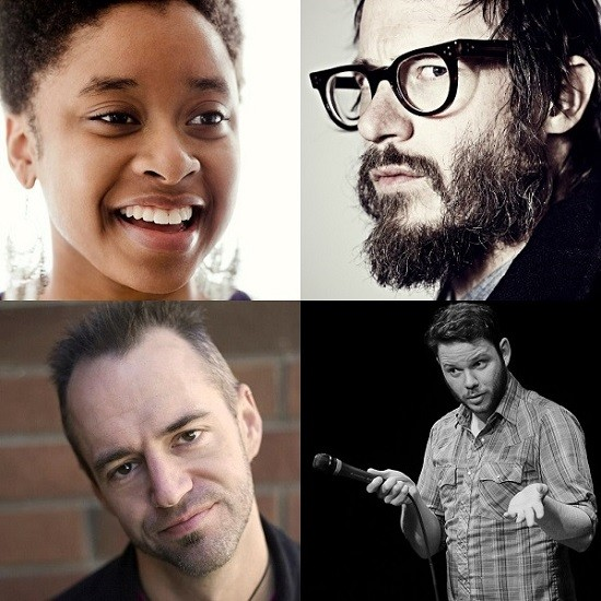 (Top Left) New York comedian Phoebe Robinson, (Top Right) New York comedian Ben Kronberg, (Bottom Left) New York and St. Louis comedian Jeremy Essig, (Bottom Right) Chicago Comedian Kevin White.