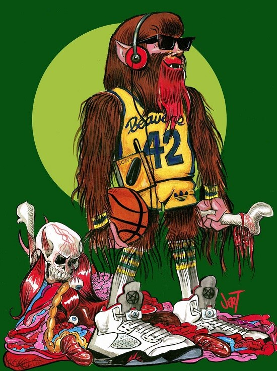 """""""Teen Wolf: Bloodthirsty Power Forward"""" -- Art by JERT. Read below for more on his art show this weekend."""