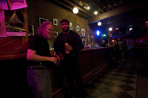 During the intermission Tommy Ramone has talks with a fan at the bar. View more photos from last night. - PHOTO: NICK SCHNELLE
