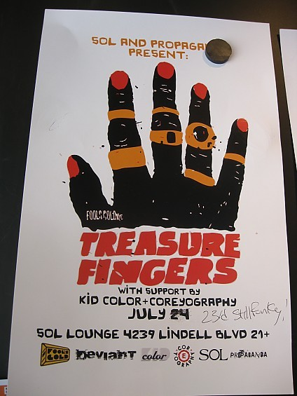 Treasure Fingers will be at Sol Lounge FRIDAY July 23, not July 24 as the poster indicates.