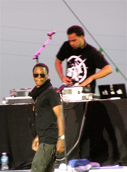 At nightfall, Lupe Fiasco took the stage in all black