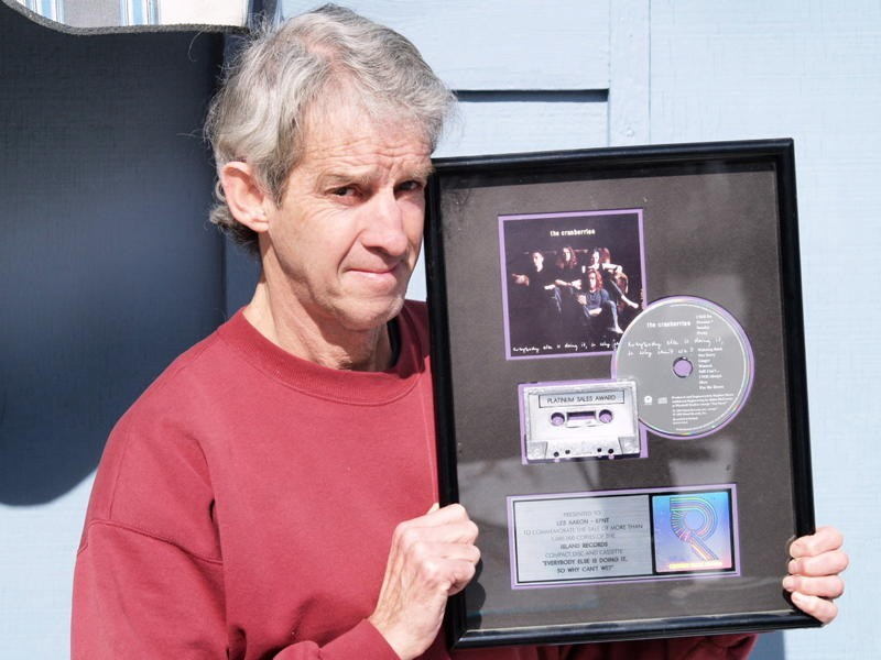 The DJ and his Cranberries platinum certification - COURTESY OF LES AARON