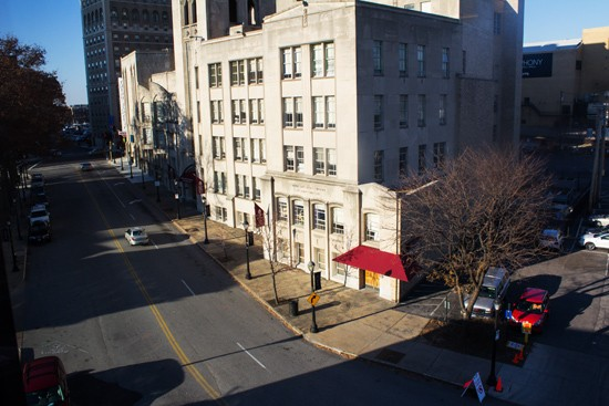 View of Washington Avenue from the window.