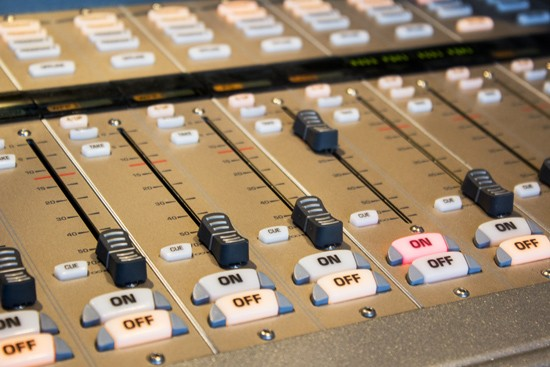 A close-up of the mixing board.