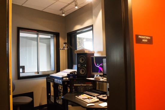 The live performance studio has separate audio and video production rooms.