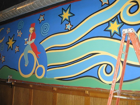 Craig Downs' monkey-on-a-bike mural in progress. - DIANA BENANTI
