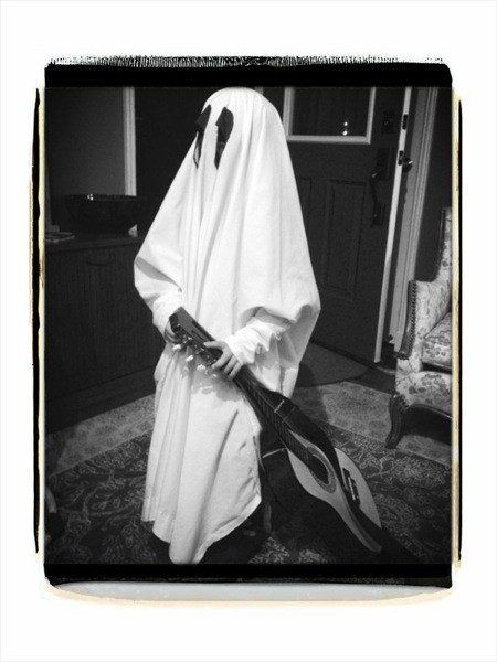 Young Dresden dresses as the Alley Ghost for Halloween 2013.