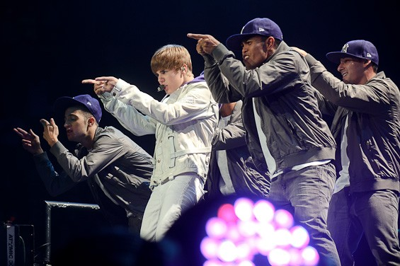 Bieber and his dance crew - TODD OWYOUNG