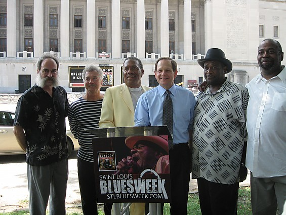Local blues men with Mayor Francis Slay at the Bluesweek press conference this afternoon across from the Peabody Opera House. From left: Ron Edwards, Bob Case, Roland Johnson, Slay, Skeet Rodgers, Jimmy Hinds. - DIANA BENANTI