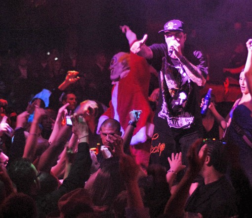 Some in the audience were left to wonder if Ice was taking a cue from Insane Clown Posse, with the clowns on stage. More photos. - PHOTO: EGAN O'KEEFE