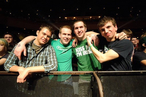 Front-row fans last night for Flogging Molly at the Pageant. - PHOTO: TODD OWYOUNG