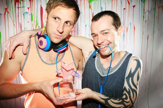 London Calling DJs Doug Curtis and Nick Openlander posing with their 2011 Best Party award. - EMILY MOORE
