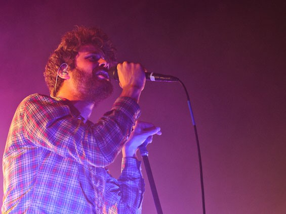Passion Pit's banter-happy frontman Michael Angelakos. See a slideshow of last night's Passion Pit show at the Pageant. - PHOTO: JASON STOFF