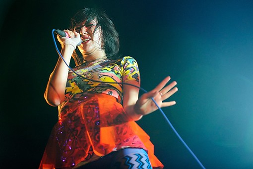 Karen O. of the Yeah Yeah Yeahs at the Pageant. More photos here. - PHOTO: TODD OWYOUNG