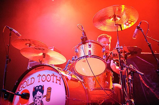 The drummer of St. Louis band Gold Tooth last night at the Pageant. See the full slideshow from last night here. - PHOTO: TODD OWYOUNG