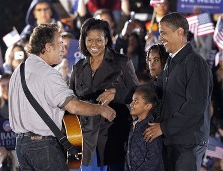 THE BOSS AT A CONCERT IN OHIO, WITH, NATURALLY, THE OBAMAS.