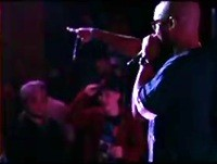"ROCKWELL KNUCKLES ON STAGE AT THE GRAMOPHONE DURING HIS LAST ST. LOUIS PERFORMANCE, FROM THE TEF POE ""COMING OUTTA MISSOURI"" VIDEO."